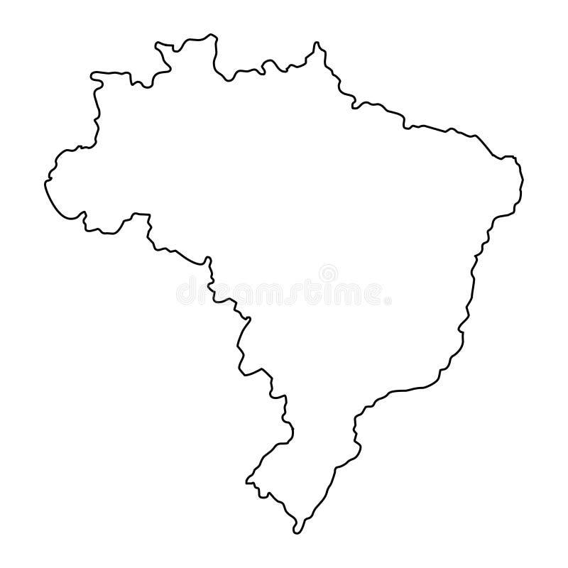 Иллюстрация вектора контурной карты Бразилии иллюстрация штока