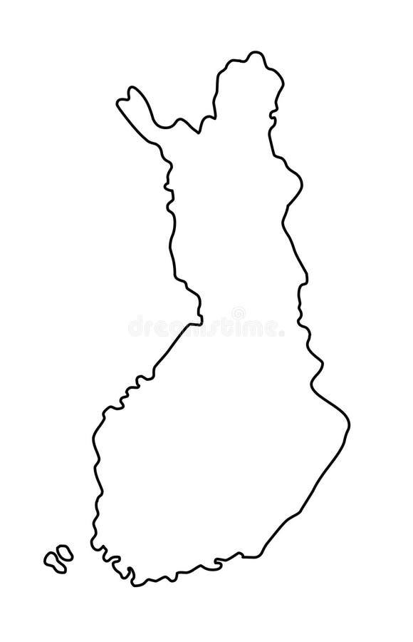 Иллюстрация вектора контурной карты Финляндии иллюстрация вектора