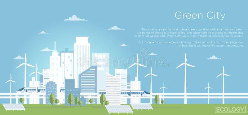 Иллюстрация вектора концепции города Eco Большой современный горизонт города в плоском стиле с местом для текста горизонт города  иллюстрация штока