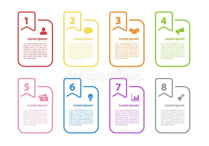 Иллюстрация вектора концепции дела дизайна Infographic с 8 шагами иллюстрация вектора