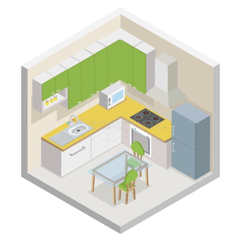Иллюстрация вектора концепции комнаты мебели кухни равновеликим современным cutaway плоским изолированная дизайном иллюстрация штока