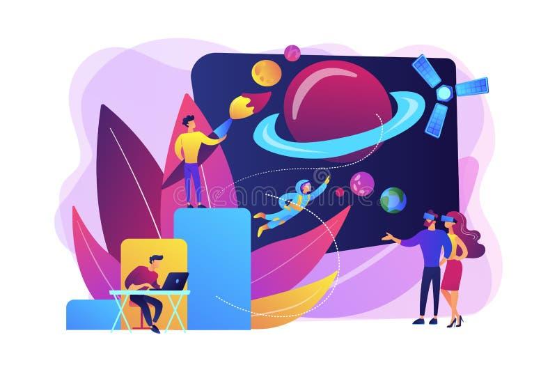 Иллюстрация вектора концепции развития виртуального мира бесплатная иллюстрация