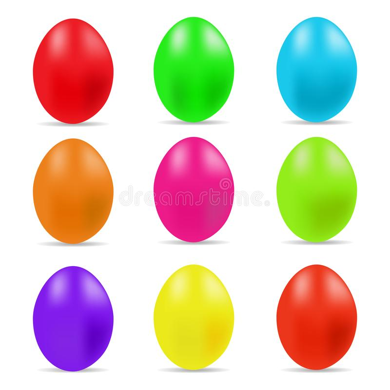 Иллюстрация вектора красочного собрания пасхальных яя на белой предпосылке иллюстрация штока