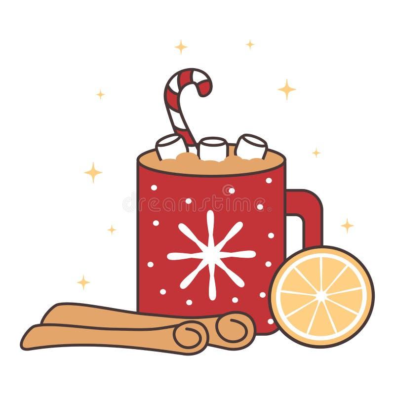 Иллюстрация вектора кружки какао милого рождества мультфильма горячая с циннамоном, оранжевым куском и зефирами иллюстрация вектора