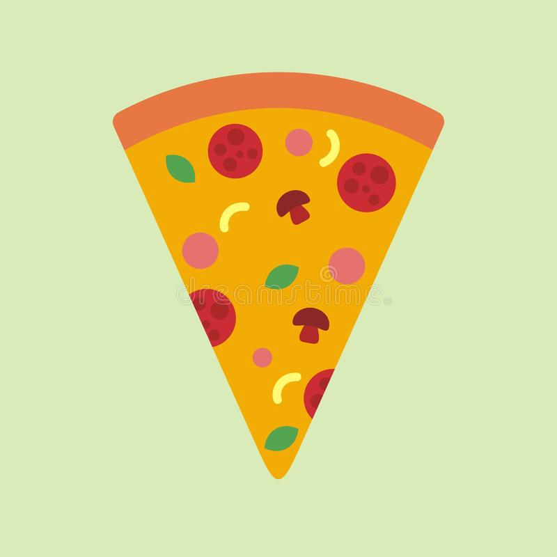 Иллюстрация вектора куска пиццы, шарж пиццы с плоским дизайном иллюстрация вектора