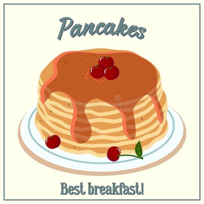 Иллюстрация вектора кучи блинчиков Печь с сиропом и вишнями вишни на плите зажаренное яичко чашки принципиальной схемы кофе завтр иллюстрация вектора