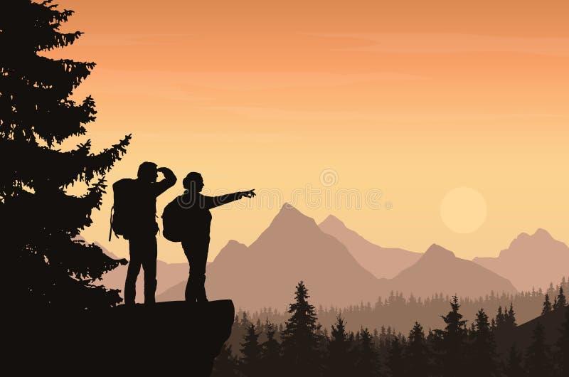 Иллюстрация вектора ландшафта горы с лесом и tw иллюстрация штока