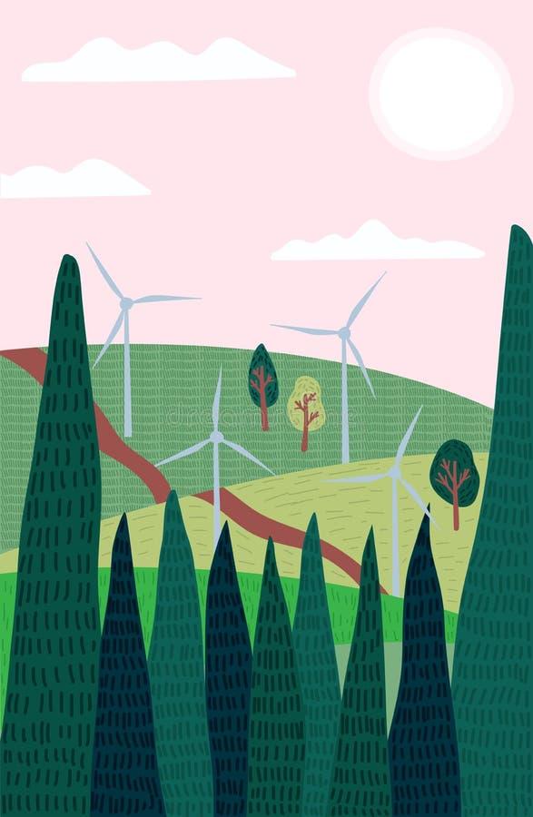 Иллюстрация вектора ландшафта с высокими деревьями и ветрянками Чертеж вектора концепции возобновляющей энергии плоский иллюстрация вектора
