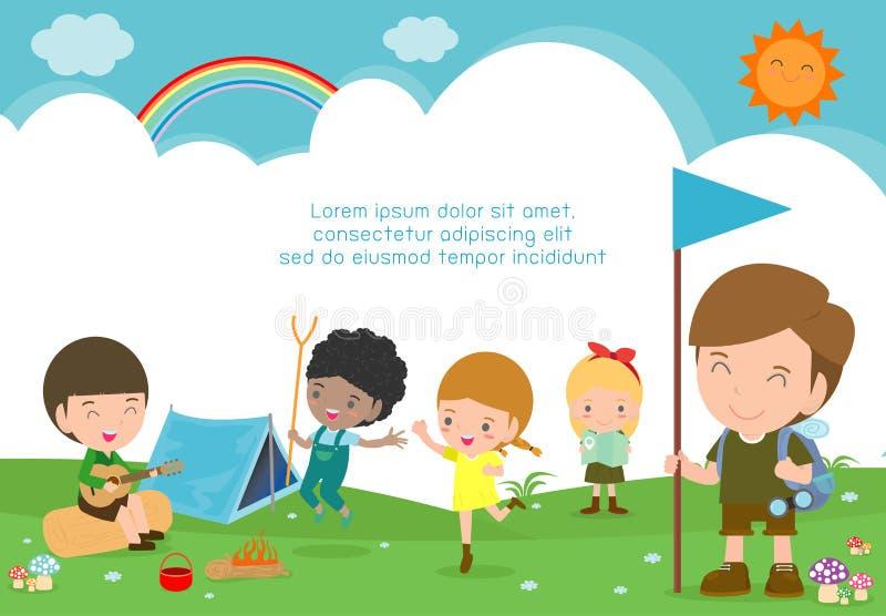 Иллюстрация вектора летнего лагеря детей, дети на походе, характеры туриста детей и располагаться лагерем на летних каникулах иллюстрация штока