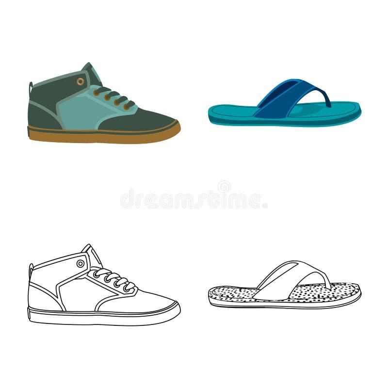 Иллюстрация вектора логотипа ботинка и обуви Собрание сокращенного названия выпуска акций ботинка и ноги для сети иллюстрация вектора