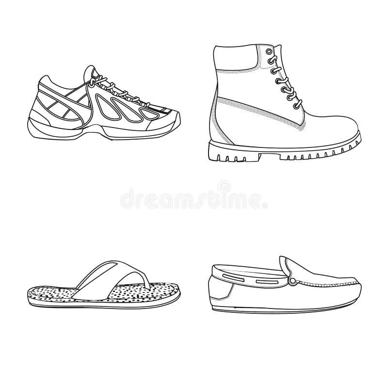 Иллюстрация вектора логотипа ботинка и обуви Установите значка вектора ботинка и ноги для запаса иллюстрация вектора