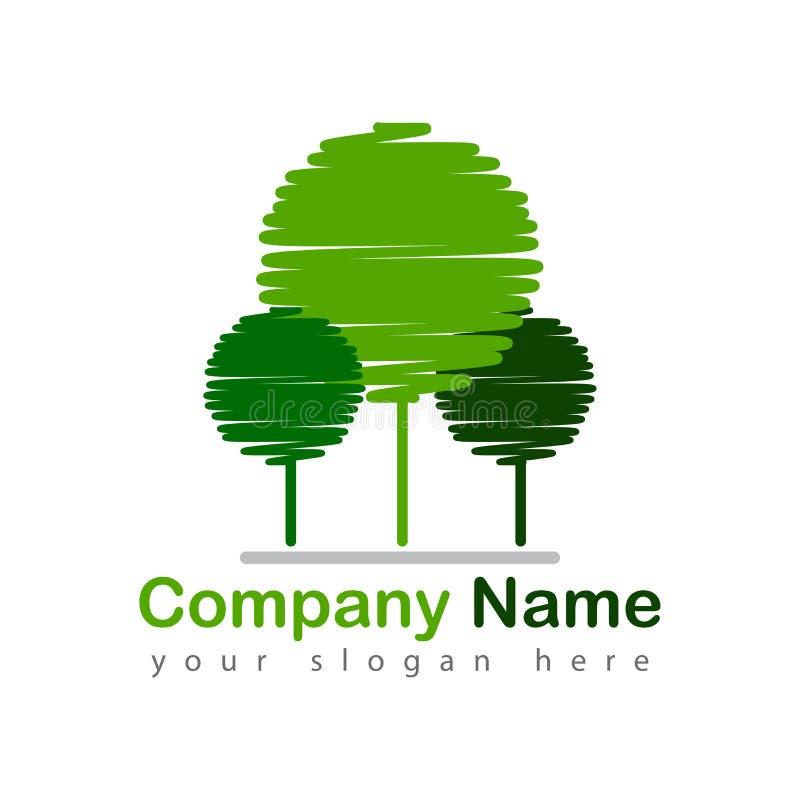 Иллюстрация вектора логотипа деревьев Scribble иллюстрация вектора
