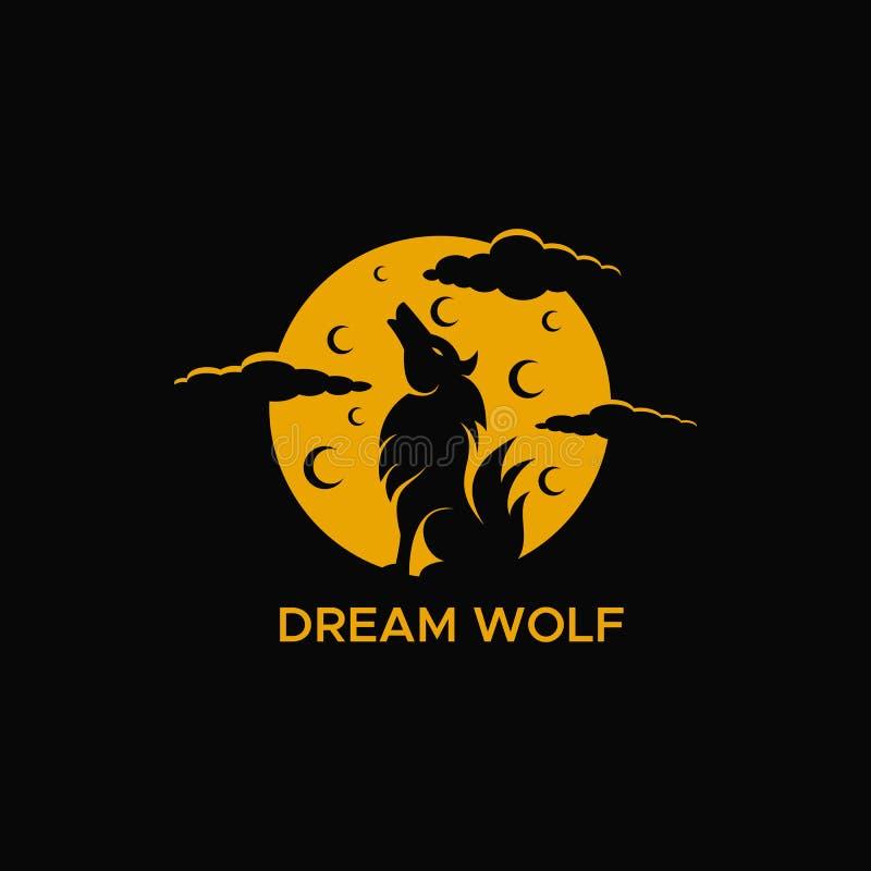 Иллюстрация вектора логотипа луны волка стоковое изображение rf