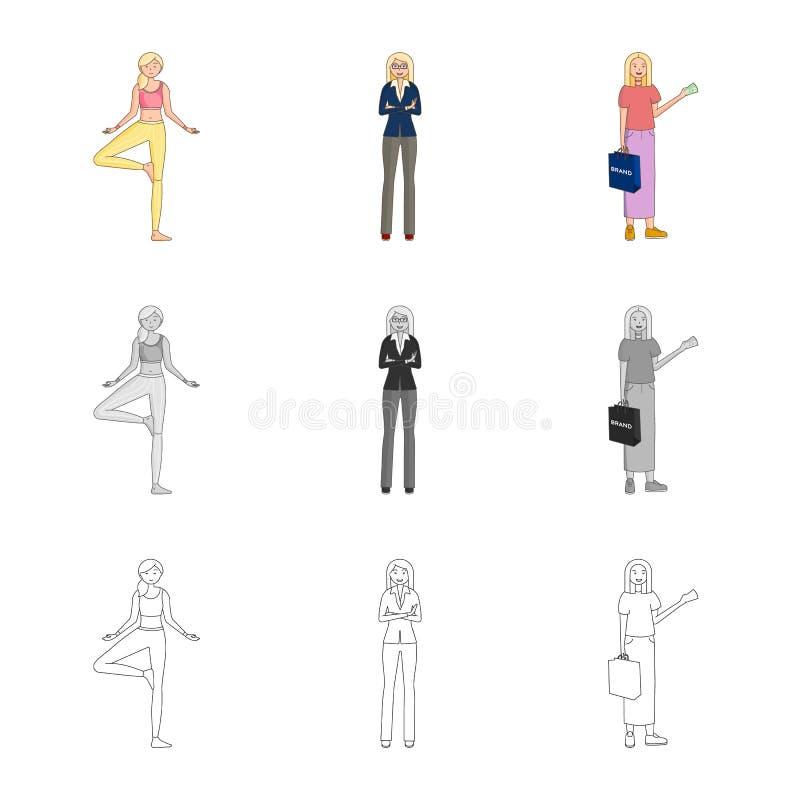Иллюстрация вектора логотипа позиции и настроения Собрание позиции и женский значок вектора для запаса бесплатная иллюстрация