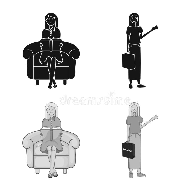 Иллюстрация вектора логотипа позиции и настроения Собрание позиции и женского сокращенного названия выпуска акций для сети иллюстрация вектора