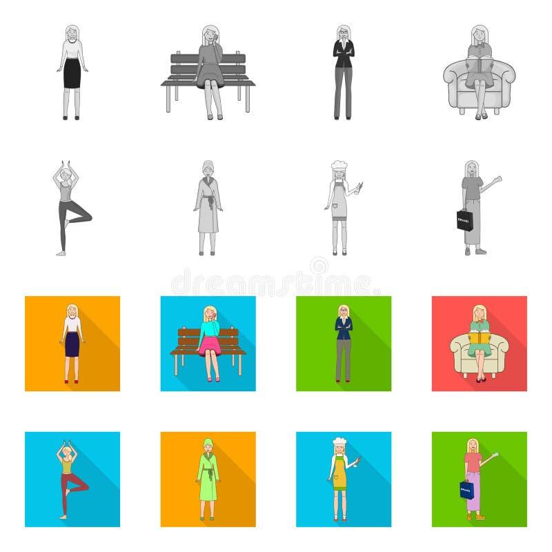 Иллюстрация вектора логотипа позиции и настроения Собрание позиции и женской иллюстрации вектора запаса иллюстрация штока
