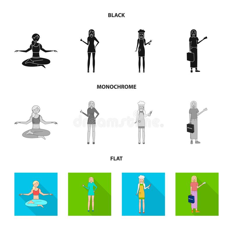 Иллюстрация вектора логотипа позиции и настроения Установите позиции и женского значка вектора для запаса иллюстрация вектора