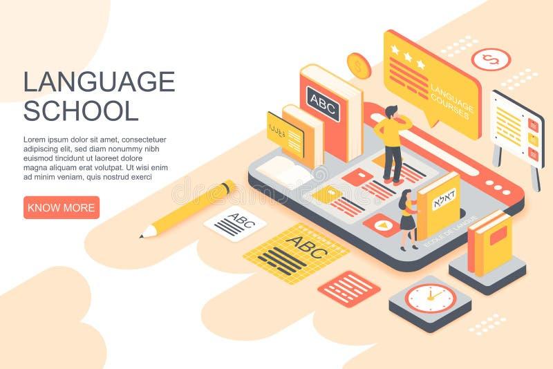 Иллюстрация вектора людей уча иностранные языки на странице иллюстрации вектора вебсайта школы равновеликой иллюстрация штока