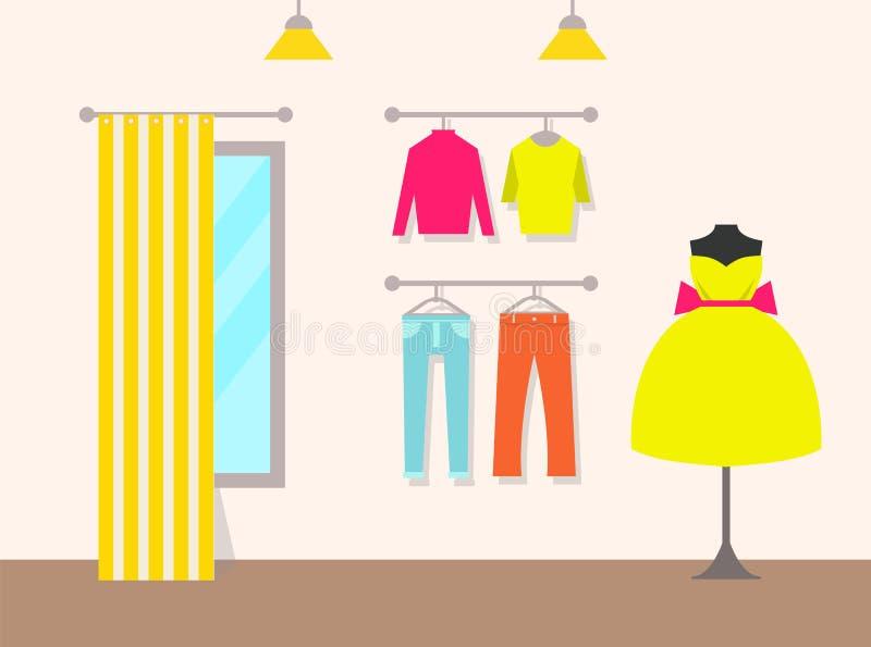 Иллюстрация вектора магазина одежды и продуктов иллюстрация вектора