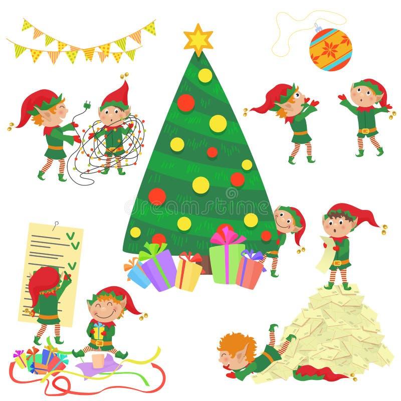 Иллюстрация вектора малых милых эльфов украшая комплект рождественской елки иллюстрация вектора