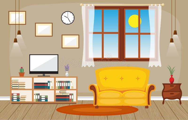 Иллюстрация вектора мебели современного дома семьи живущей комнаты внутренняя иллюстрация штока