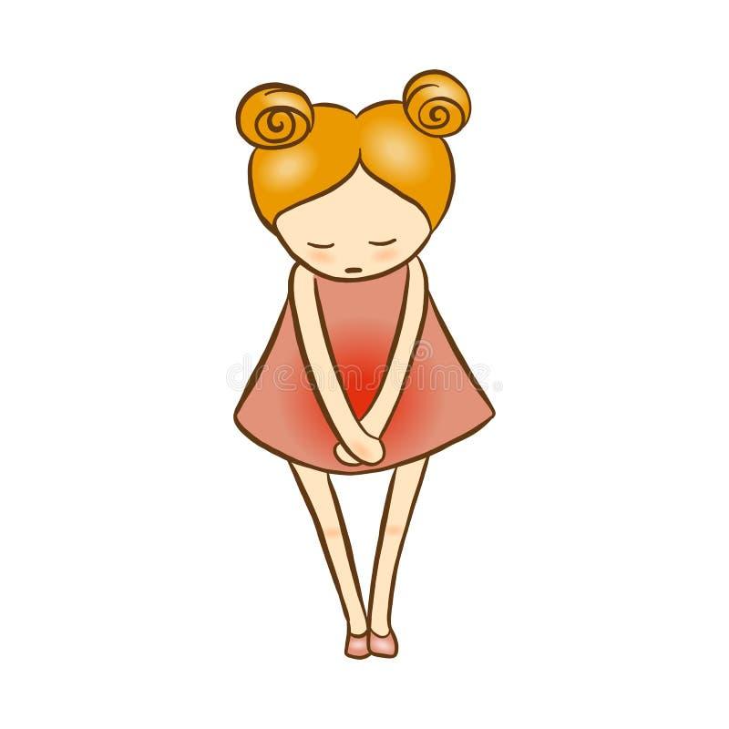 Иллюстрация вектора - менструация боли в животе страдания девушки, гастрит, цистит, боль в животе, понос Болезнь живота, иллюстрация вектора