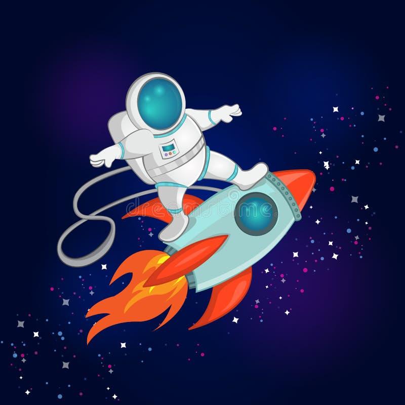 Иллюстрация вектора меньших езд серфера астронавта на космическом корабле через космос Обои детей в стиле космоса иллюстрация штока