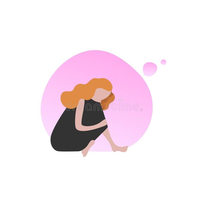 Иллюстрация вектора мечтательной женщины плоская иллюстрация вектора