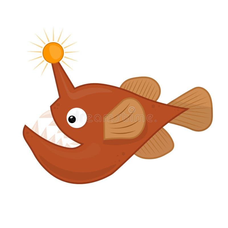 Иллюстрация вектора милая сердитых рыб с фонариком для детей мультфильм рыб рыболова Тварь глубокого моря бесплатная иллюстрация