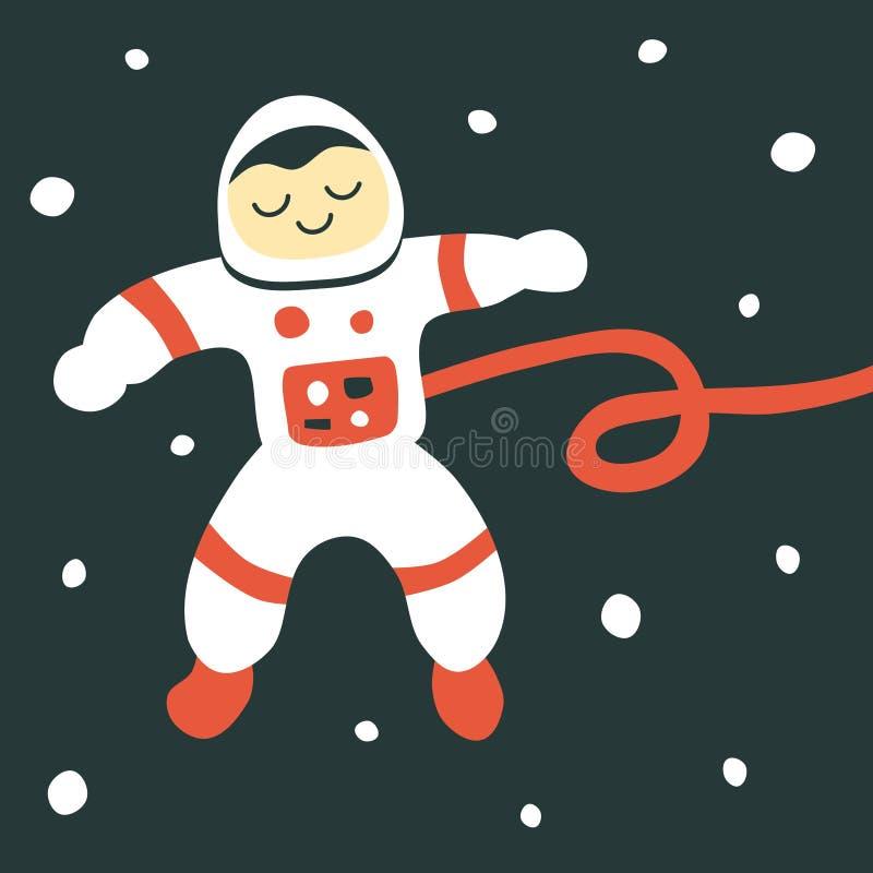 Иллюстрация вектора милого астронавта мультфильма плавая в темносиний космос бесплатная иллюстрация