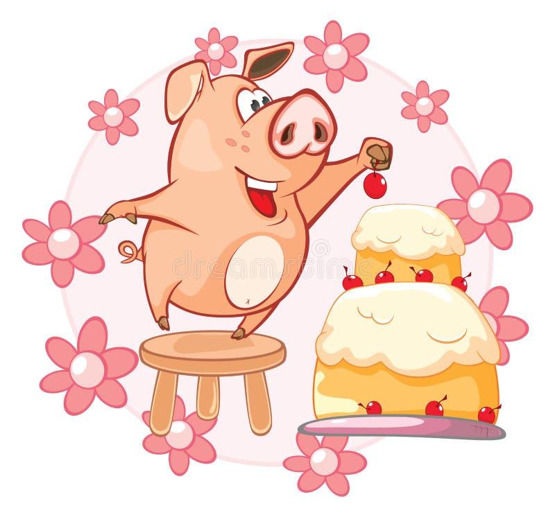 Иллюстрация вектора милой свиньи головка дерзких милых собак персонажа из мультфильма предпосылки счастливая изолировала белизну  иллюстрация штока