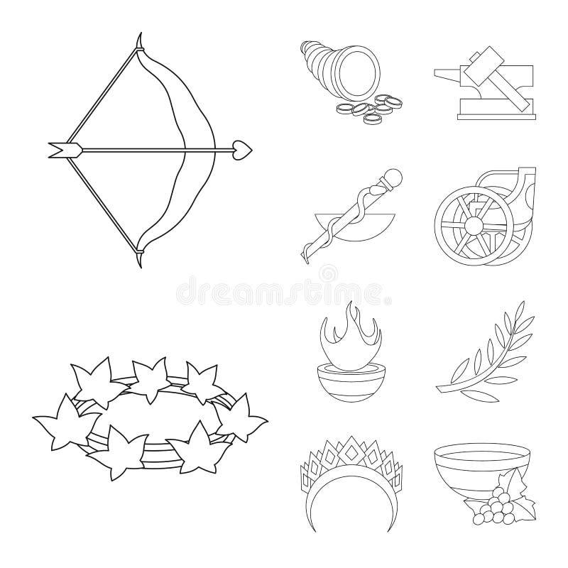 Иллюстрация вектора мифологии и значка бога Установите сокращенного названия выпуска акций мифологии и культуры для сети бесплатная иллюстрация