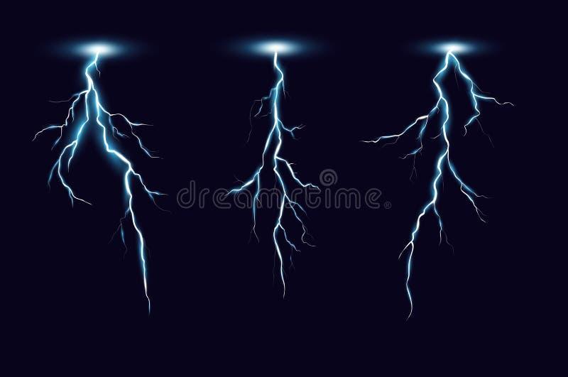 Иллюстрация вектора молнии установила в реалистический стиль на темно-синей предпосылке Thunderbolts собрание, элементы для иллюстрация штока