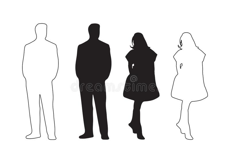 Иллюстрация вектора мужского и женского силуэта бесплатная иллюстрация