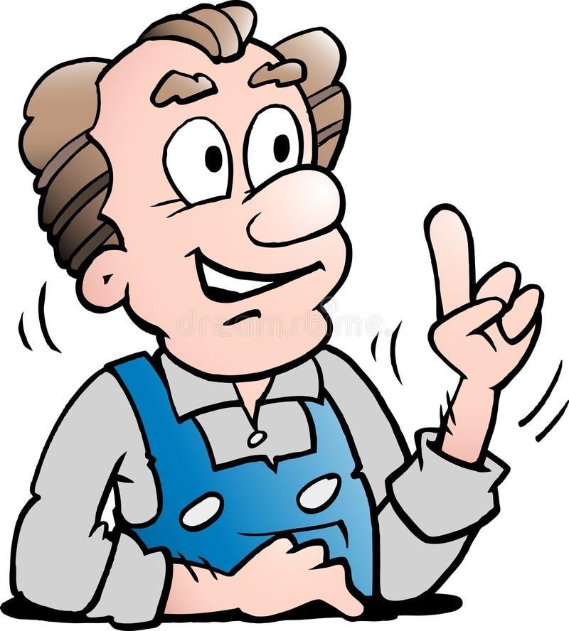 Иллюстрация вектора мультфильма более старого старшего работника стоковая фотография