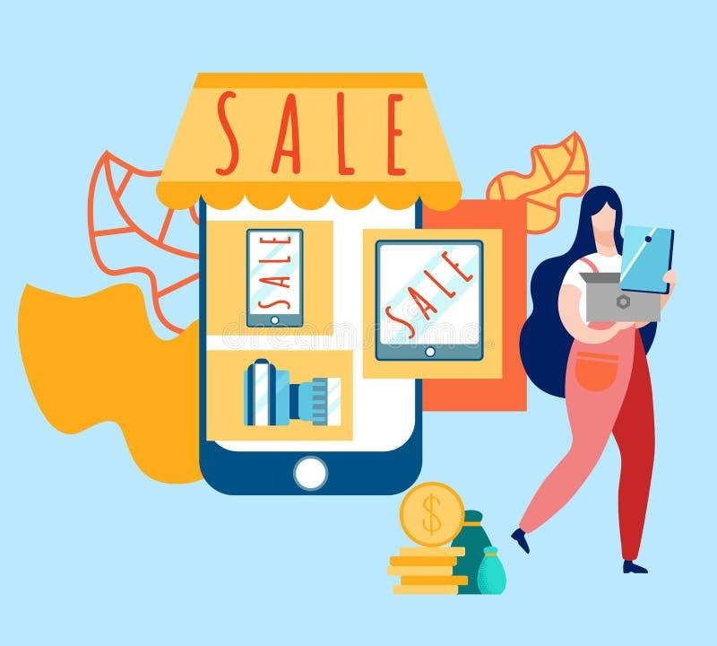 Иллюстрация вектора мультфильма продажи магазина электроники иллюстрация штока