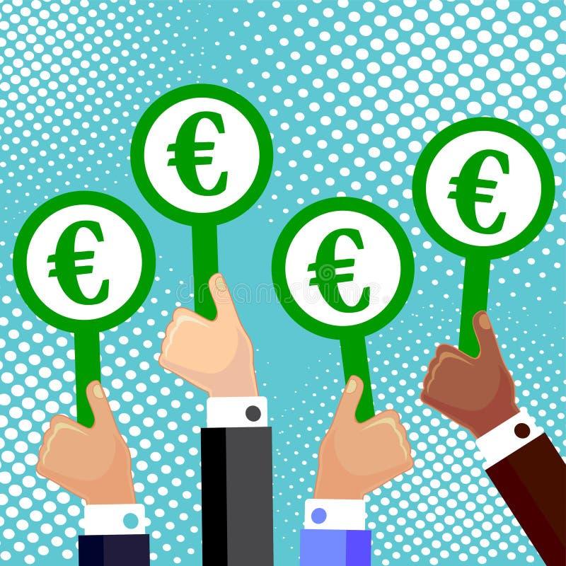 Иллюстрация вектора мультфильма рук держа плиту с символом евро бесплатная иллюстрация