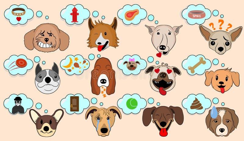 Иллюстрация вектора мультфильма смешных собак выражая эмоции Смешные смешанные собаки породы с пузырем речи Мысль мозга собаки иллюстрация штока
