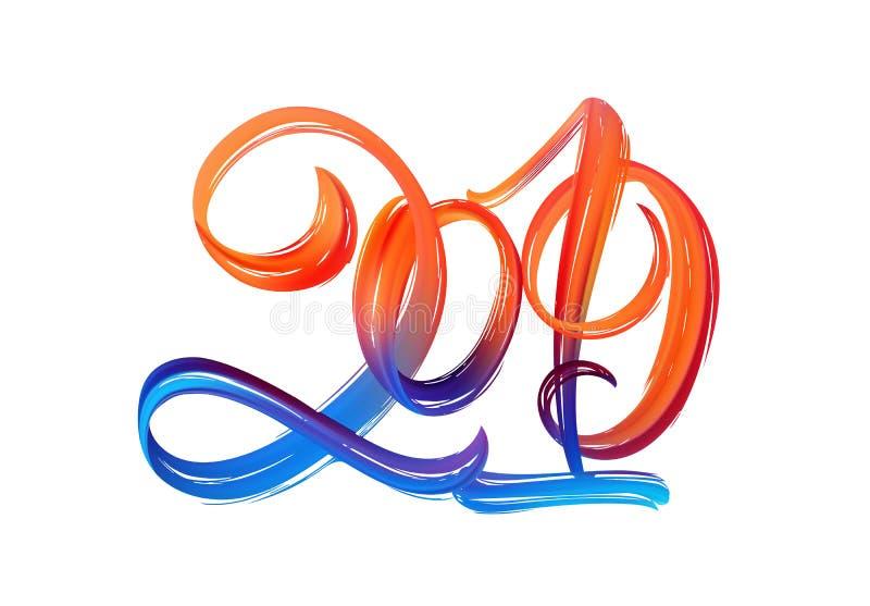 Иллюстрация вектора: Нарисованная рукой краска хода щетки красочная помечая буквами номера 2019 счастливое Новый Год иллюстрация штока
