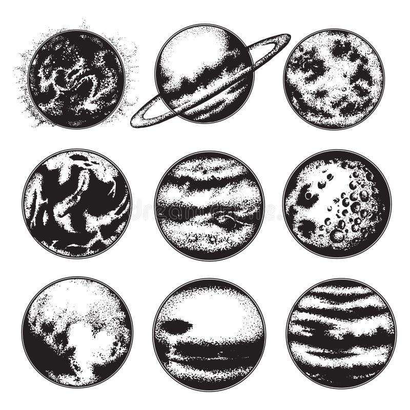 Иллюстрация вектора нарисованная рукой планет иллюстрация вектора