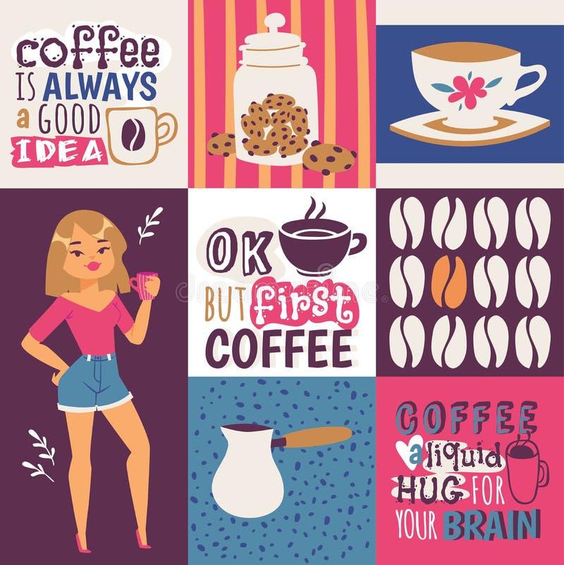Иллюстрация вектора наркомании кофе Любовник кофе милого мультфильма женский с чашкой напитка Кофе всегда хорошая идея бесплатная иллюстрация