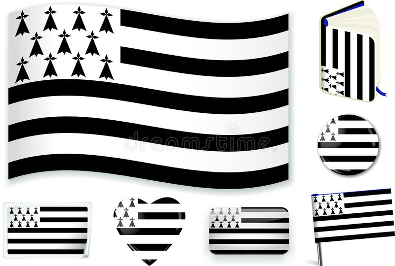 Иллюстрация вектора национального флага Бретань в различных формах иллюстрация штока