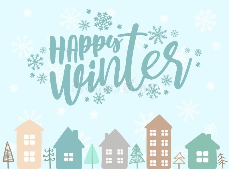 Иллюстрация вектора на Новый Год Нарисованное вручную изображение домов мультфильма с окнами на голубой предпосылке снежинок с in иллюстрация вектора