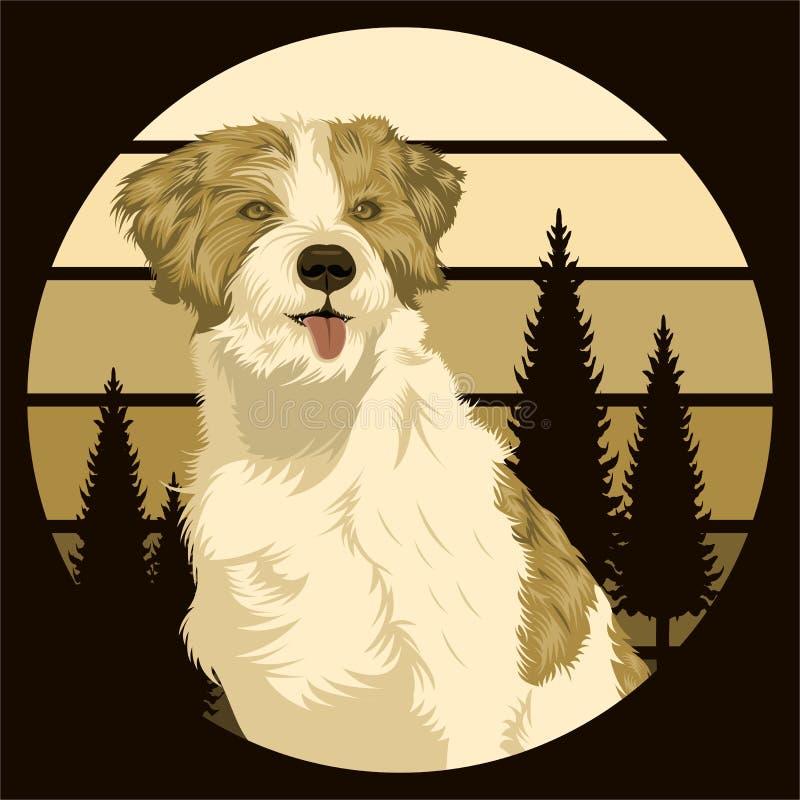 Иллюстрация вектора на открытом воздухе захода солнца собаки ретро стоковая фотография