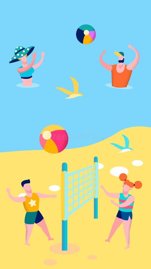 Иллюстрация вектора на открытом воздухе игр взморья плоская иллюстрация штока