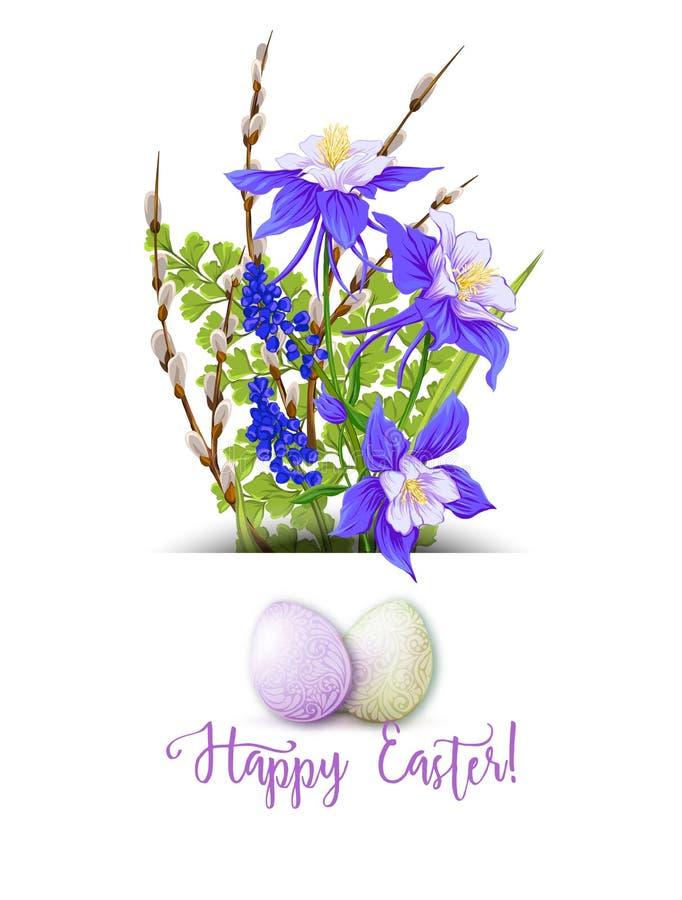 Иллюстрация вектора на счастливый праздник пасхи иллюстрация штока