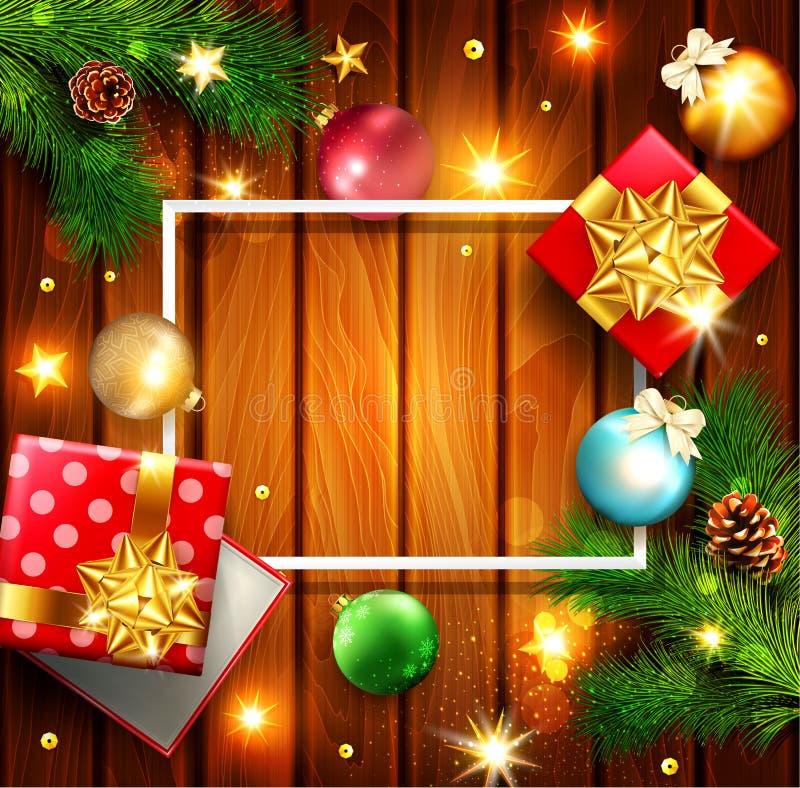 иллюстрация вектора на с Рождеством Христовым и счастливый Новый Год Gre бесплатная иллюстрация