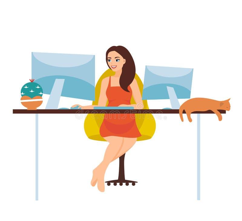 Иллюстрация вектора независимой работы Беременная девушка работает на компьютере и сидит на столе дома иллюстрация штока