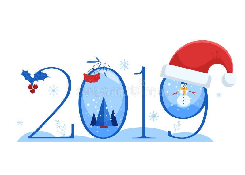 Иллюстрация вектора нового знамени 2019 год горизонтального с номером и различными символами зимы и праздника иллюстрация вектора