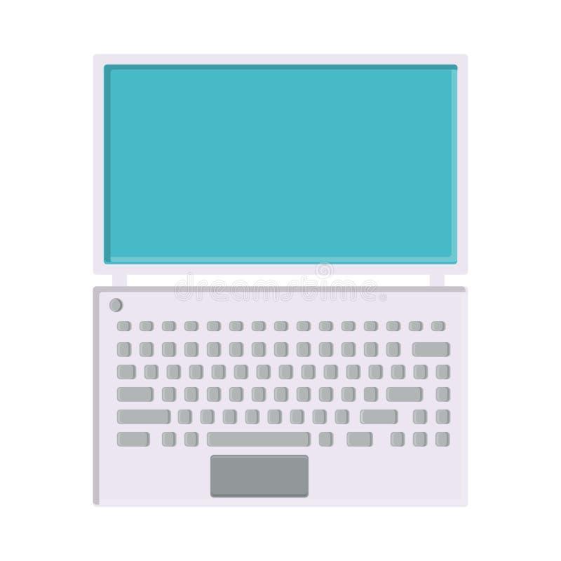Иллюстрация вектора ноутбука белого плоского значка простого современного цифрового цифрового ультратонкого прямоугольного с клав бесплатная иллюстрация